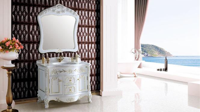 简欧式浴室柜中式仿古卫浴柜橡木落地式镜柜组合美式实木洗脸盆柜1100mm A8209