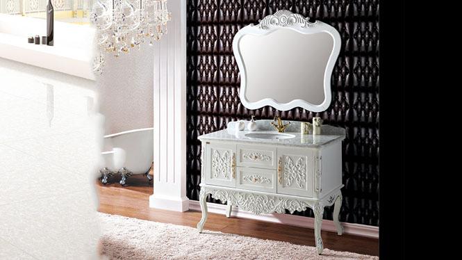 欧美式卫浴仿古浴室柜红橡木实木浴室柜落地洗手洗脸盆浴室柜组合1220mm A8066A