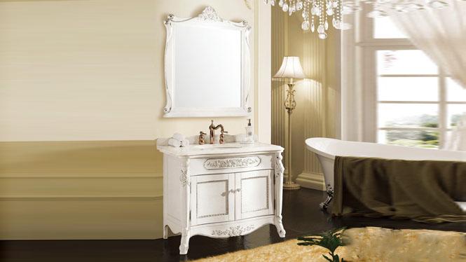 简欧美式卫浴落地柜实木储物镜柜卫生间洗脸洗手盆浴室柜组合1020mm A8210B