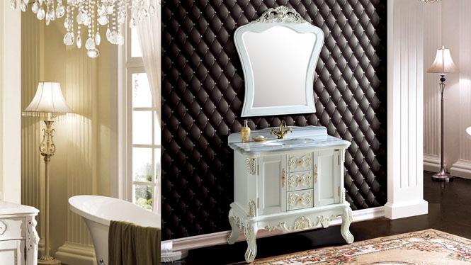 欧式经典古典雕花实木橡木浴室柜落地式洗脸盆柜组合洗手卫浴柜890mm A8105B