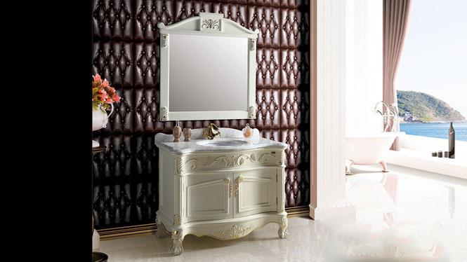卫浴柜简欧美式乡村实木镜柜落地柜卫生间柜洗手盆浴室柜组合1110mm A8006