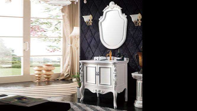 浴室柜实木简欧式浴室柜落地式美式浴室柜橡木卫浴柜组合930mm A8211