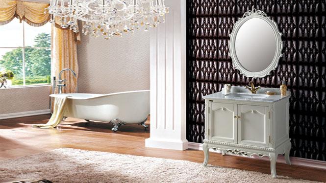 欧式实木浴室柜组合橡木洗手洗脸盆卫浴落地式洗簌台890mm A8041