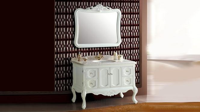 欧美式浴室柜组合中式实木卫浴柜橡木落地柜简约实木洗漱台洗脸盆1200mm A8089