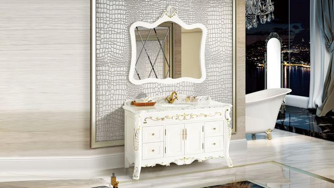 实木橡木落地式浴室柜组合洗手盆洗漱盆卫浴镜柜组合卫生间洗漱台1430mm A8027