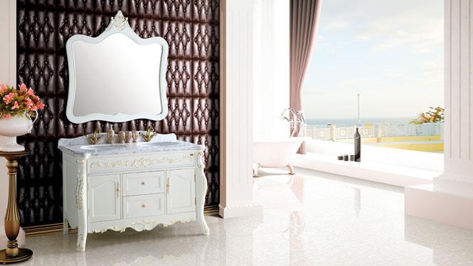 橡木浴室柜实木卫浴柜落地式组合柜定做洗手间洗脸台盆柜套装1430mm  A8027B