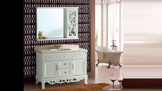 欧式浴室柜组合洗漱台洗手盆仿古柜简约现代实木落地式1200mm A8202A