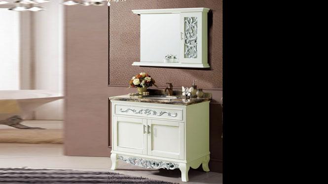 欧式浴室柜组合红橡木实木仿古卫浴卫生间洗漱柜落地式1000mm A8202B