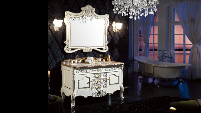 欧式浴室柜落地式仿古浴室柜橡木浴室柜实木雕花洗脸卫浴柜组合1350mm A8212