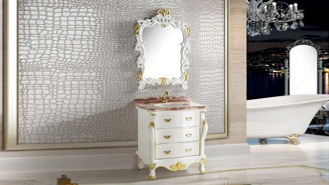 浴室柜实木简欧式浴室柜落地式美式浴室柜橡木卫浴柜组合800mm A8067