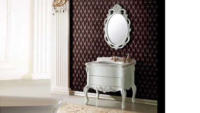 实木橡木落地式浴室柜组合洗手盆洗漱盆卫浴镜柜组合卫生间洗漱台900mm A8106