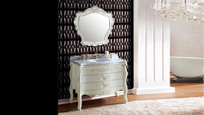欧式仿古浴室柜组合红橡木实木落地式洗脸盆简欧卫浴柜1110mm A8077