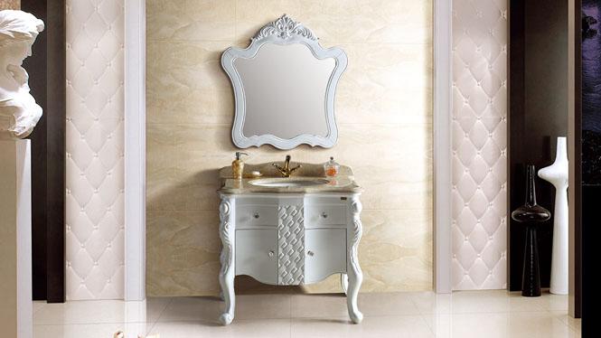 欧式浴室柜落地式仿古浴室柜橡木浴室柜实木雕花洗脸卫浴柜组合900mm A8107