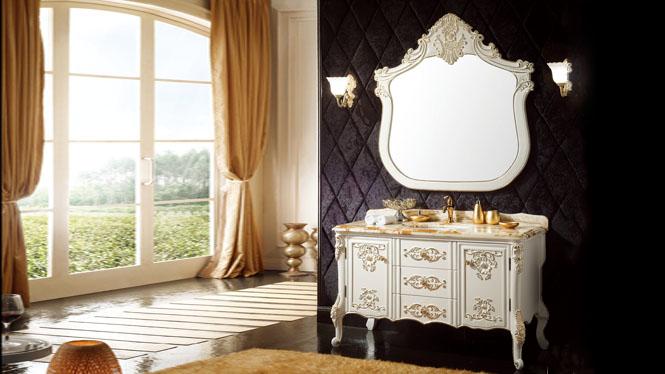 欧式进口橡木落地式浴室柜 美式实木落地式镜 柜浴柜组合1380mm A8213