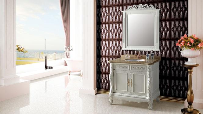 欧式浴室柜组合落地式实木仿古浴室柜橡木美式卫浴柜洗脸盆柜组合950mm A8030