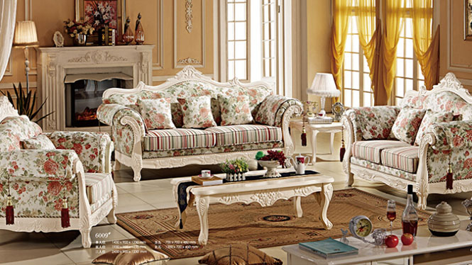 美式乡村布艺沙发组合外贸 美式实木沙发 布艺转角沙发6009#