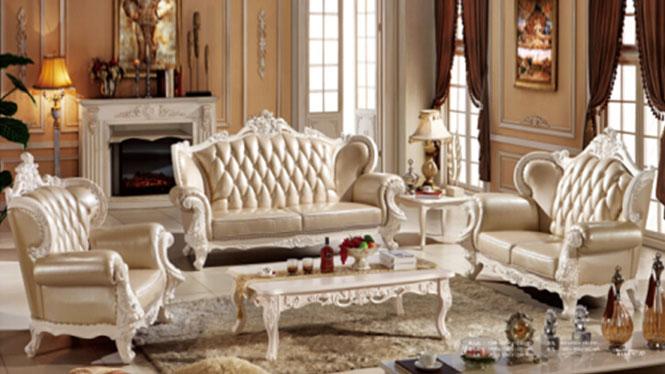 欧式真皮沙发 欧式雕花实木沙发 客厅简欧沙发 欧式真皮423#