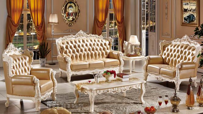 欧式实木沙发 欧式实木沙发 客厅品牌真皮 欧式转角真皮1302#
