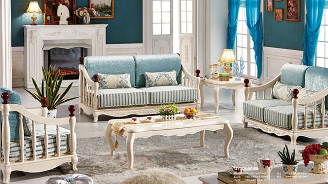 小户型布艺沙发 地中海布艺转角沙发 小户型布艺沙发组合MY-308-B#浅色