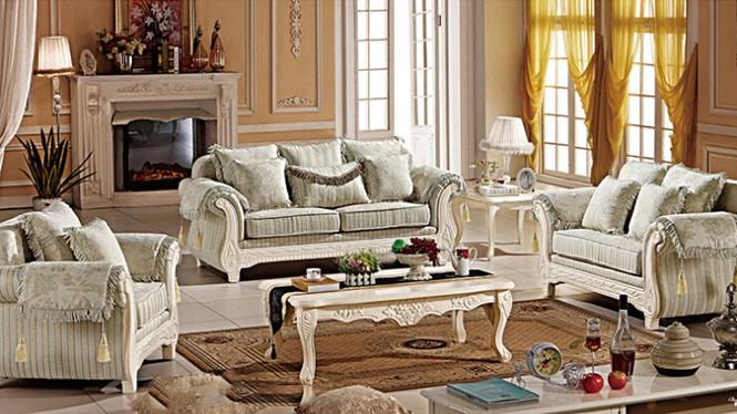美式实木布艺沙发组合 新款简约客厅布艺沙发 客厅实木组合沙发306#