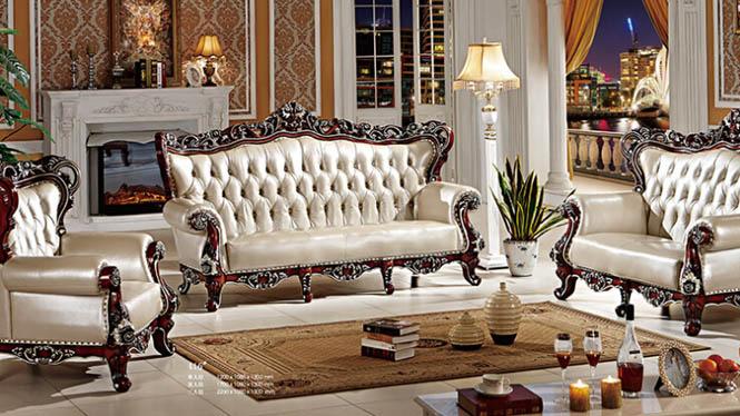 欧式古典客厅真皮沙发 法式奢华客厅沙发组合 实木贵妃沙发416#