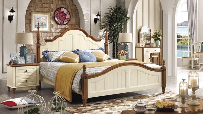 地中海风格 性价比之王 进口优质实木1.8米床 地中海风情双人床6602#