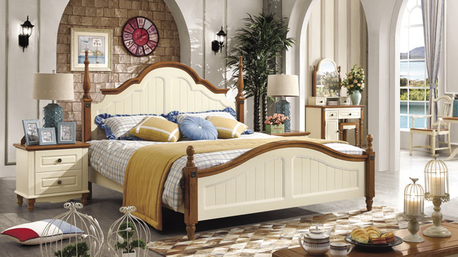 地中海风格 性价比之王 进口优质实木1.5米床 地中海风情双人床6602#