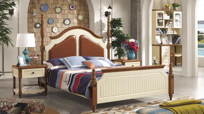 实木橡木床 1.5米双人床单人床 白色田园婚床地中海6603#
