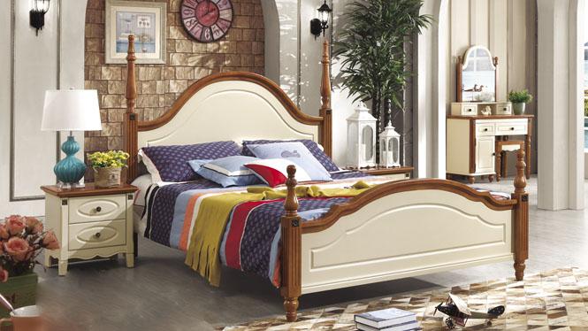 地中海床欧式床双人床1.8米田园床实木床美式乡村床婚床6601#