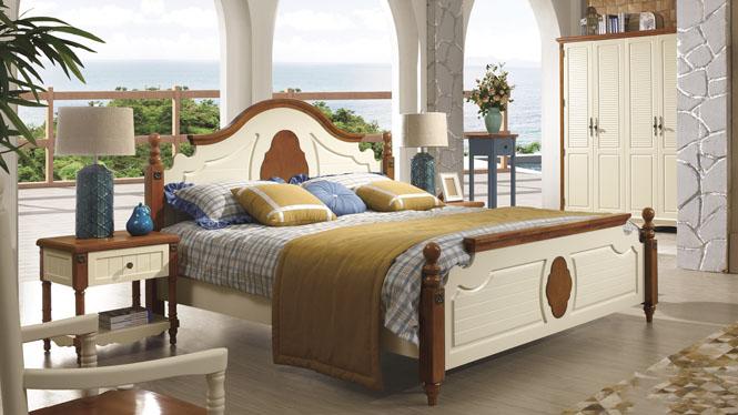 地中海床 美式乡村床 田园床 1.5米实木床 欧式床双人床6607#