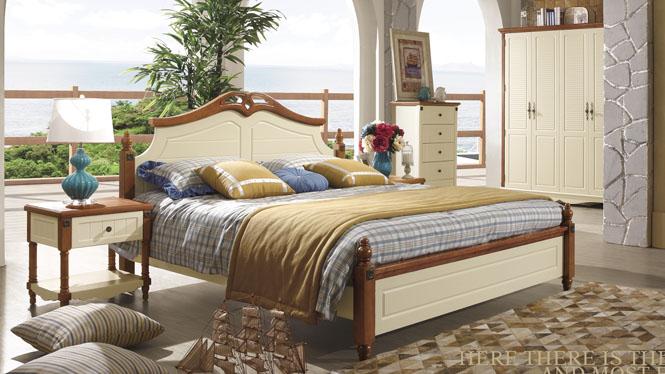 地中海床欧式床双人床1.8米田园床实木床美式乡村床婚床6612#