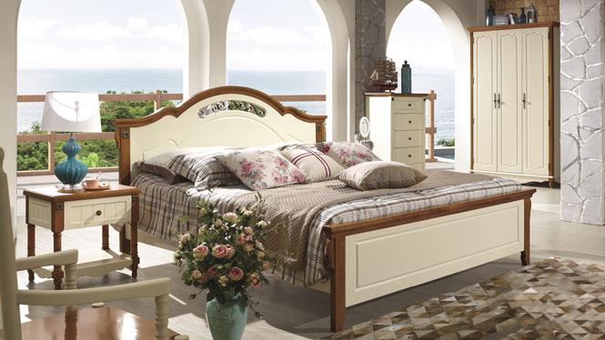 地中海床欧式床双人床1.8米田园床实木床美式乡村床婚床6608#