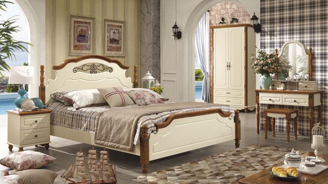 地中海家具床 美式田园乡村公主实木床 欧式婚床 双人床1.5米6606#