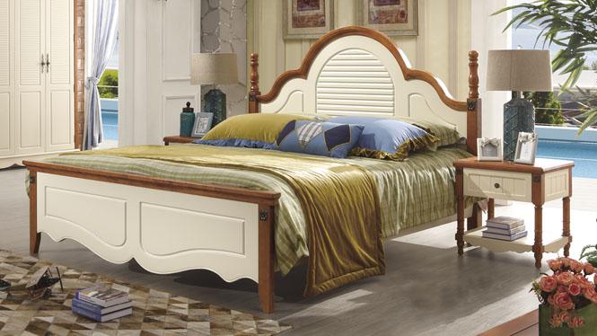 地中海床欧式床双人床1.8米田园床实木床美式乡村床婚床6609#
