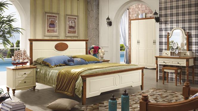 实木橡木床1.8米双人床单人床 白色田园婚床地中海6610#
