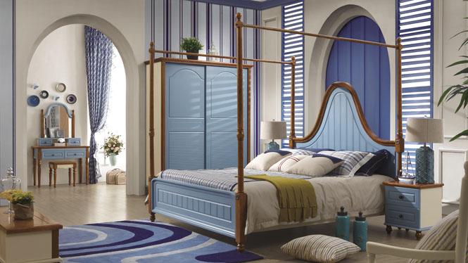 地中海床公主床类婚床美式双人床1.8米蓝色实木床6611#