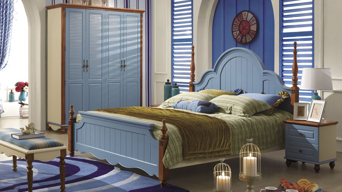 地中海床欧式床双人床1.5米田园床实木床美式乡村楸木床婚床6605#
