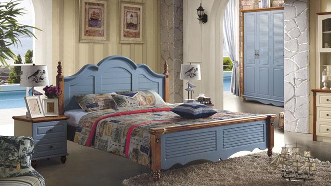 地中海床欧式床双人床1.8米田园床实木床美式乡村实木床婚床6613#