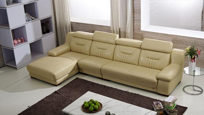 头层牛皮转角沙发 真皮沙发客厅转角组合 现代皮艺大小户型沙发F118