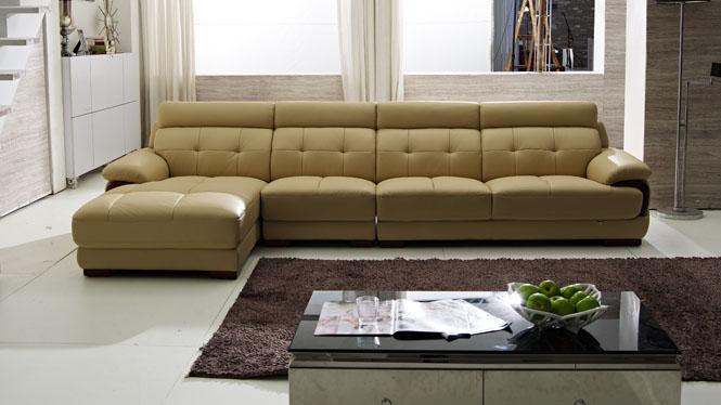 真皮沙发 简约现代客厅组合头层牛皮沙发大户型转角皮艺沙发F139