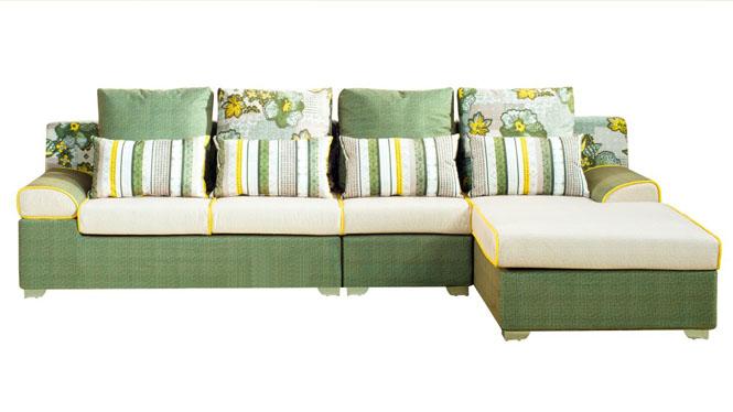 布艺沙发组合小户型布沙发可拆洗皮配布沙发转角客厅家具皮布沙发MQF-8008