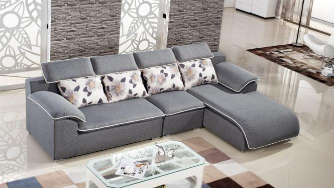 高档布艺沙发组合现代客厅沙发转角贵妃沙发可拆洗大小户型布沙发MQF-8003
