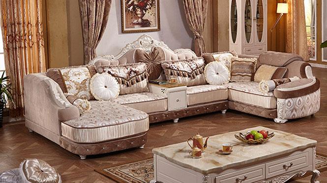 欧式布艺沙发组合 小户型客厅家具 贵妃转角简欧沙发L0880