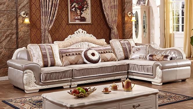 欧式布艺沙发欧式简欧客厅组合沙发转角沙发实木沙发L0811