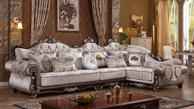 欧式家具 简欧转角组合 欧式布艺沙发 欧式沙发L0516