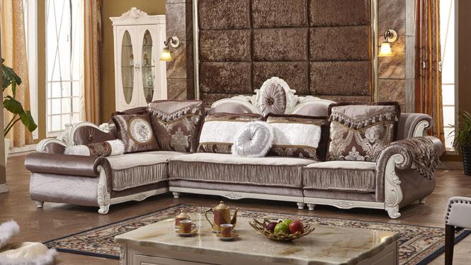 欧式布艺沙发组合 小户型客厅家具 贵妃转角简欧沙发L0866