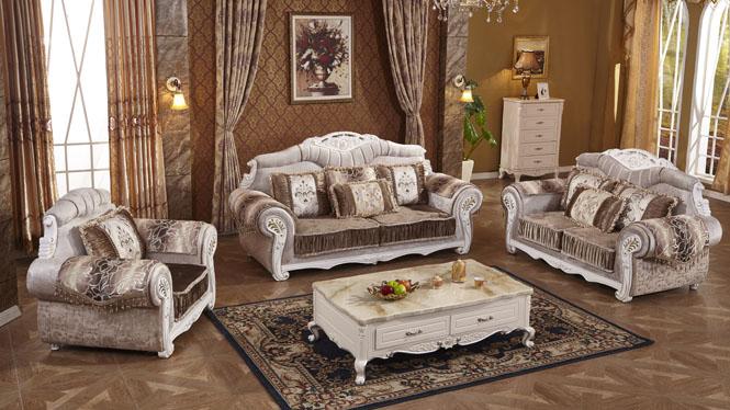 欧式布艺沙发 简约客厅组合 大小户型转角简欧沙发L0605