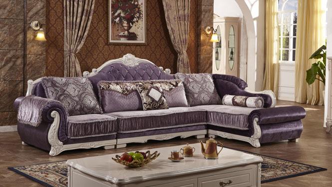 欧式沙发 L型客厅转角组合沙发大小户型简约时尚组合布艺沙发L0807