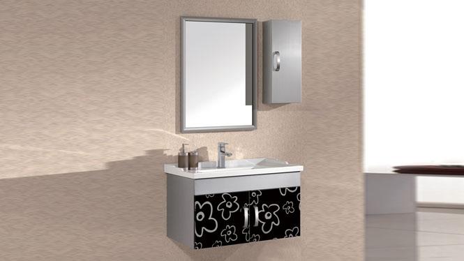 不锈钢浴室柜组合洗脸洗手盆面盆池洗漱台盆卫生间吊柜挂墙式820mm WSJ-837
