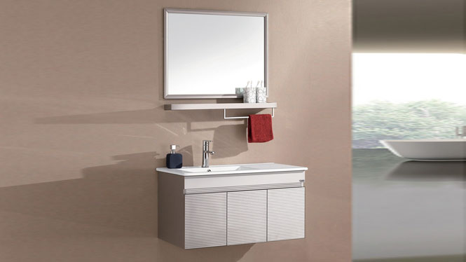 不锈钢落地浴室柜组合卫浴柜洗手盆 洗脸盆柜组合卫浴家具600mm WSJ-822